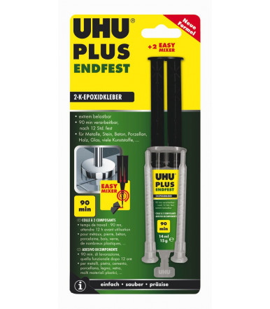 Strong universal two-component epoxy adhesive UHU Plus endfest seal 90 minutes 15ml mixer