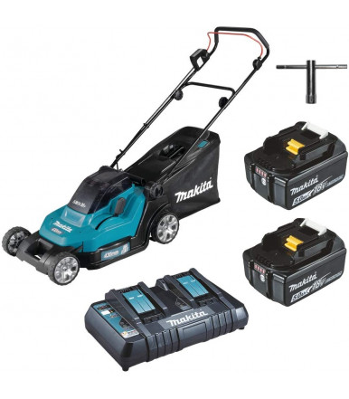 Push lawn mower 18Vx2 43 cm Makita DLM432PT2 with 2 batteries 5Ah and charger
