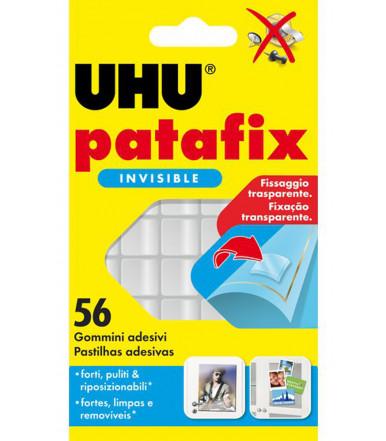 UHU Patafix Invisible trasparente 56 gommini adesivi, removibile o riutilizzabile