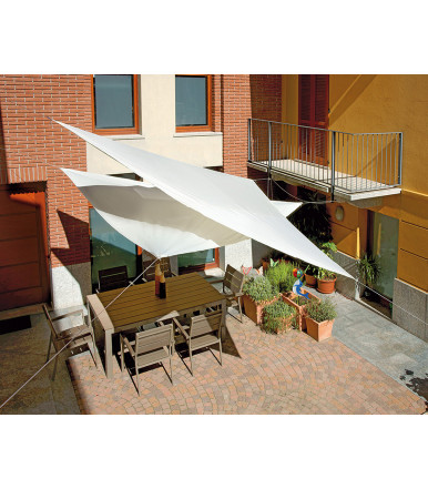 Triangular 5x5x5 mt ecru' sail for garden furniture