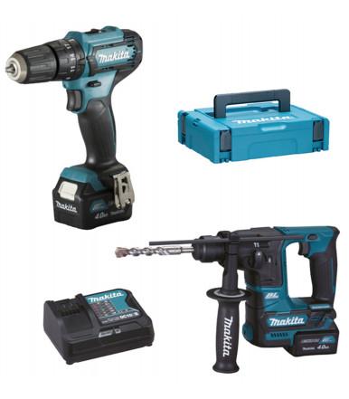 Combo Kit 12V max Drill driver c/percussion + Rotary Hammer 2 batteries 4Ah Makita CLX235SMJ