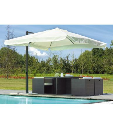Square garden umbrella 3x3 mt with aluminum lateral pole