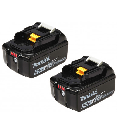 Pieces 2 - Makita 197288-2 BL1850B Twin Pack rechargeable battery 18V Lithium 5.0 Ah with charge indicator