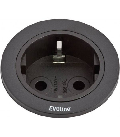 VDE recessed socket Black EVOline One