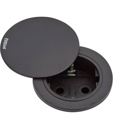 VDE recessed socket with rotating cover Black EVOline One