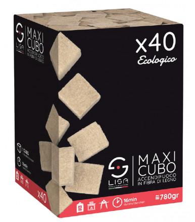 Maxi firelighter cube in wood fiber 40 pcs