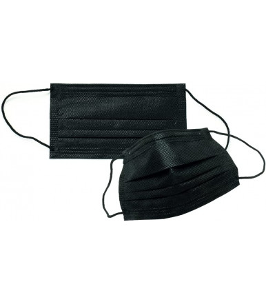 Pieces 50 - Disposable three-ply surgical mask with black elastic