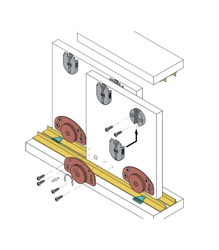 Meccanismo Per Ante Scorrevoli Complanari.Kit Sistema Scorrevole Koblenz Per Ante Portata 25 Kg Shop Mancini