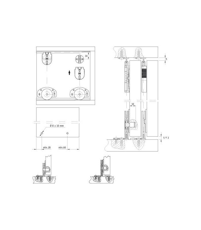 Sistemi Scorrevoli Per Ante Mobili.Kit Sistema Scorrevole Koblenz Per Ante Portata 25 Kg Shop Mancini
