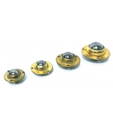 Steel ball wheel on round brass-plated iron plate