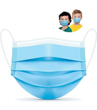 Pieces 50 - Three-ply disposable child light blue surgical mask with elastic