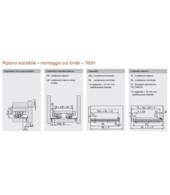 Guida per cassetti legno Tandem Blum