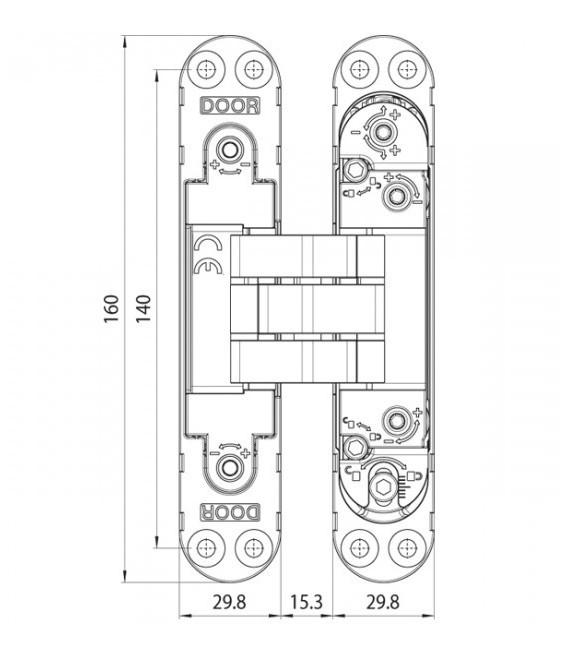 Koblenz Kubica K7000 hinge for hinged doors with 7 fulcrums
