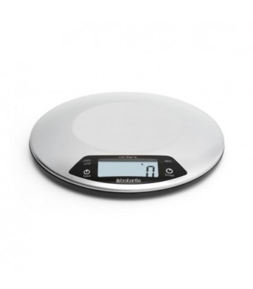 Satin-finish stainless steel kitchen scale with timer Brabantia ...