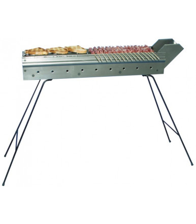 Charcoal skewer cooker for arrosticini with folding feet