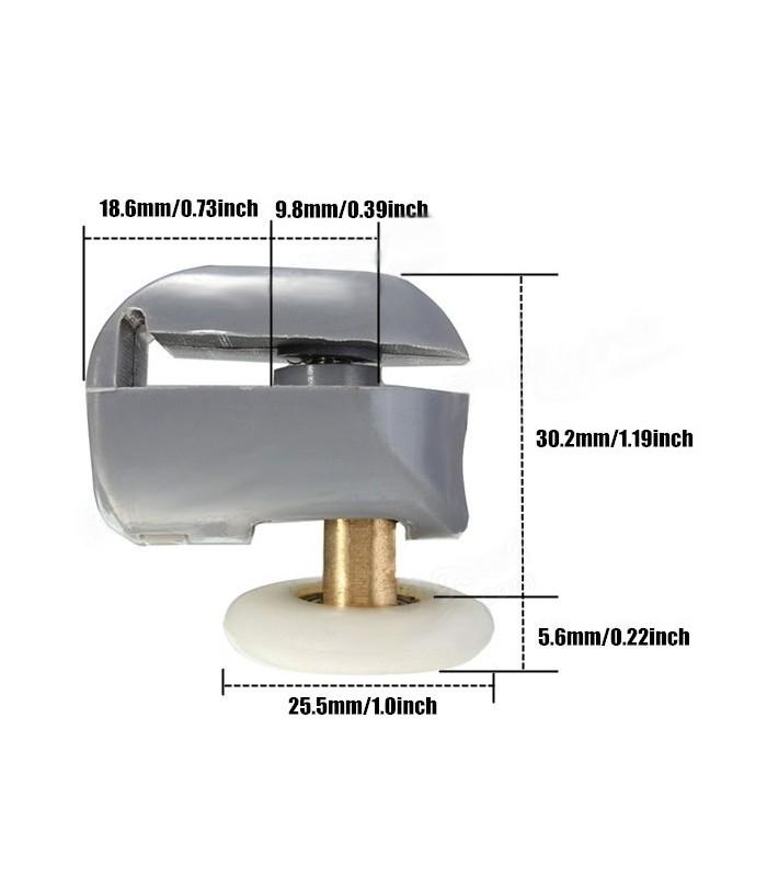 Ruota cuscinetto per scorrevoli box doccia in vetro 25 mm - Ante per doccia ...