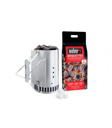 Ciminiera di accensione Weber Kit + 2 kg bricchetti + 6 cubetti accendifuoco