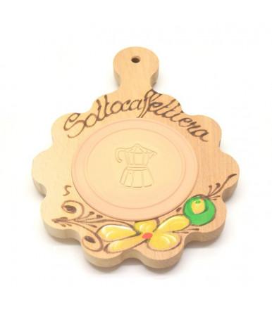 Sottocaffettiera in legno di faggio con inserto refrattario artigianato abruzzese