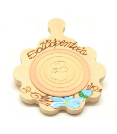 Sottopentola a fiore in legno di faggio con inserto refrattarion artigianato abruzzese