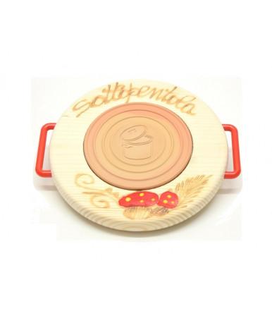Round trivet beechwood Abruzzo handicraft