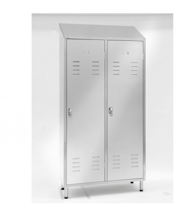 Inox locker 2 units with partition E106
