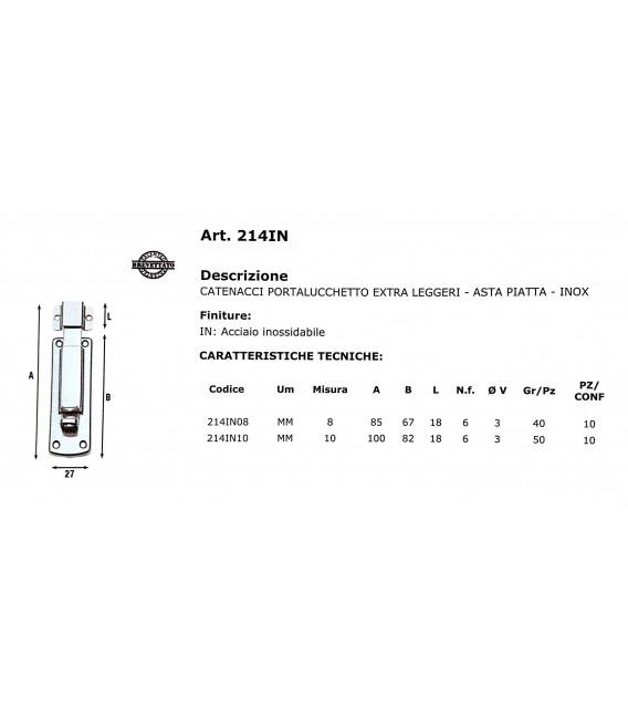 Catenaccio porta lucchetto extra leggero 10 cm Aldeghi acciaio Inox 214