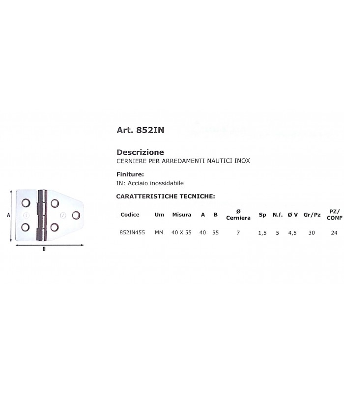 Cerniere per arredamenti nautici acciaio inox 40x55 852in for Mancini arredamenti