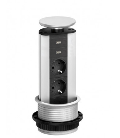 EVOline tower power strip extractable Port USB CHARGER 2 schuko sockets + 2 usb