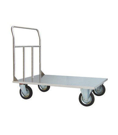 Cart AISI 304 INOX high capacity platform truck 2 fixed and 2 swivel wheels Ø 200 mm Art.044 INOX