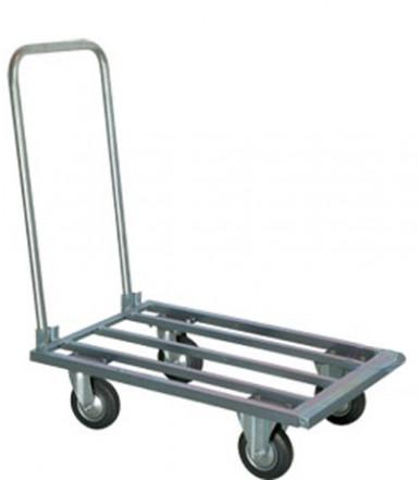 Carrello pianale allungabile zincato con manico pieghevole 2 ruote fisse Ø mm 125 e 2 girevoli Ø mm 125 Art.043
