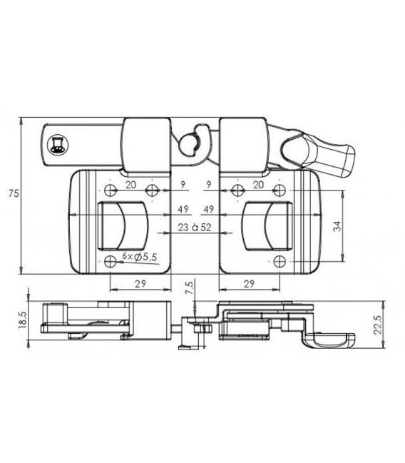 Maniglia per persiane e frangisole scorrevoli Torbel B025541J