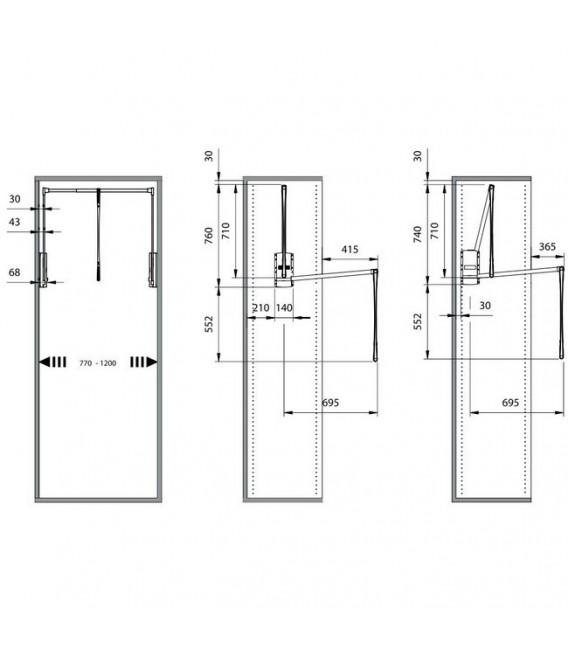 Appendiabito saliscendi per armadio Servetto originale cm 77-120
