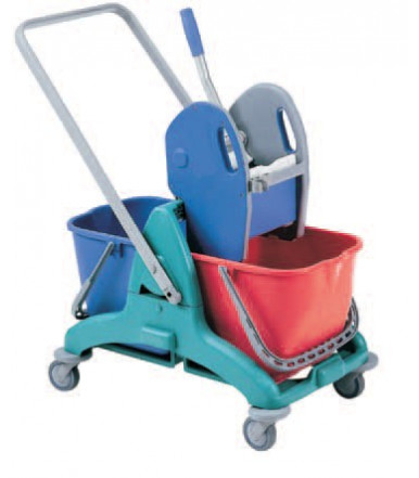 Professional cleaning trolley with 2 buckets, 25 L removable separately