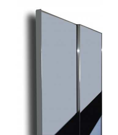 Shutter for furniture with with aluminum profile and etched glass panel