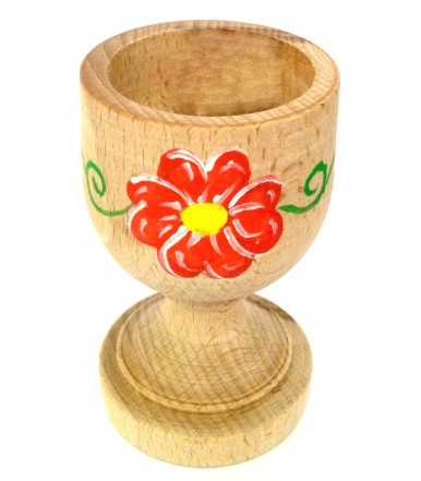 Glass egg cup beechwood Abruzzo handicraft