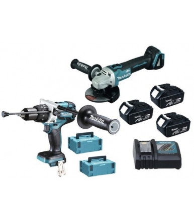Makita Combo Kit drill driver c/percussion brushless angular grinder 18V 5Ah DLX2157TJ1