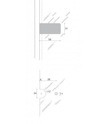 Cerniera per vetro Confalonieri CF01092 placca rettangolare 60x30 Fin.Cromo luci