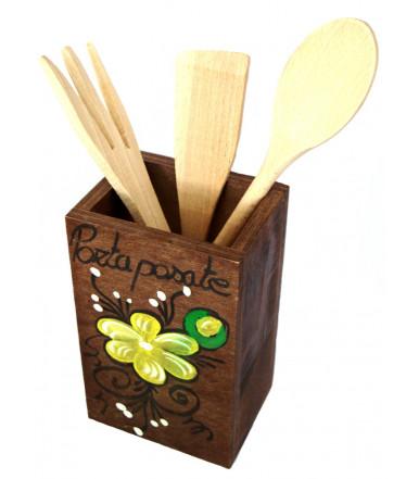 Portaposate in MDF con tre accessori per cucina artigianato abruzzese