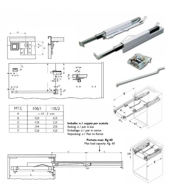 Meccanismo per tavolo estraibile con ripiani Sovrapponibili MTE 106 Gilardi