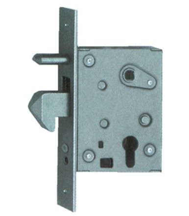 77 QL-INOX Lock one throw and hook bolt with cylinder for sliding doors and gates