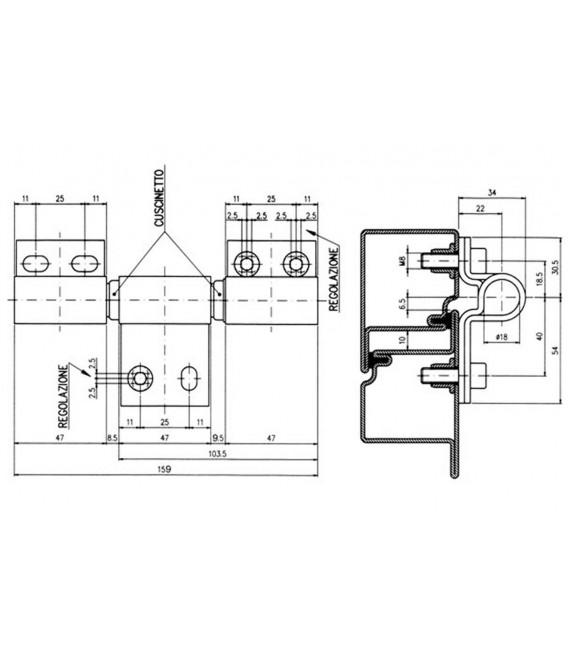 Cerniere per porte pesanti e tagliafuoco tipo rotondo con molla di chiusura IBFM 543/M