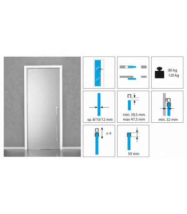 Koblenz Sliding Kit 1760/80/120 for glass doors 80 and 120 kg