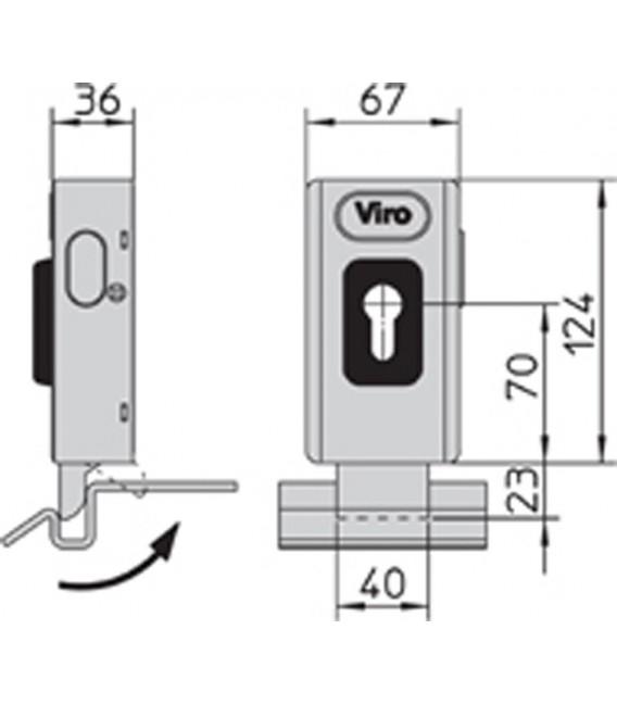 Serratura elettrica V06 Universale - Catenaccio rotante - doppia funzione con incontro a terra con entrata 70 mm Viro